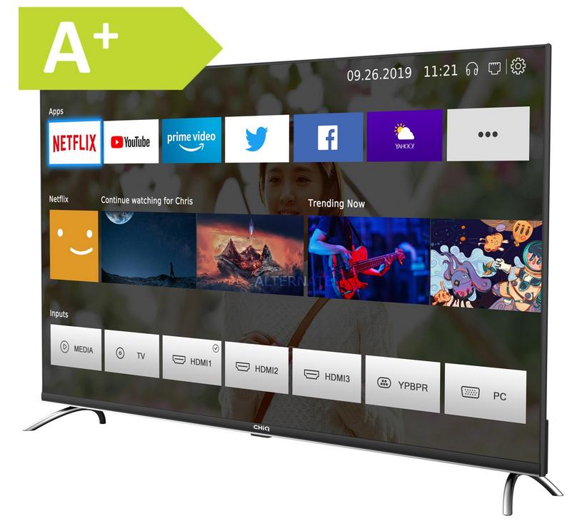 "CHiQ 43""-UHD-Smart-TV ""U43H7A"" (Android-TV, Randlos, WLAN, 250 cd/m², Triple-Tuner, Prime Video und Chromecast) [ALTERNATE]"