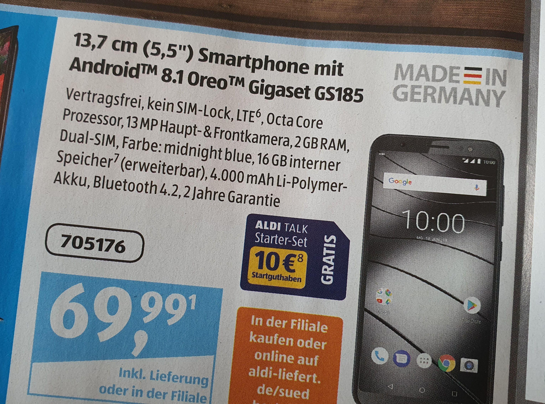 Gigaset GS185 Dual SIm Smartphone (Aldi Süd / inkl. gratis Versand)