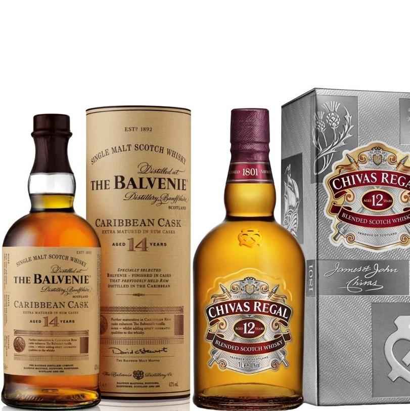 Whisky-Übersicht #33: z.B. Balvenie Caribbean Cask 14 Single Malt Scotch Whisky für 49,99€, Chivas Regal 12 (1 l) für 25,50€ inkl. Versand
