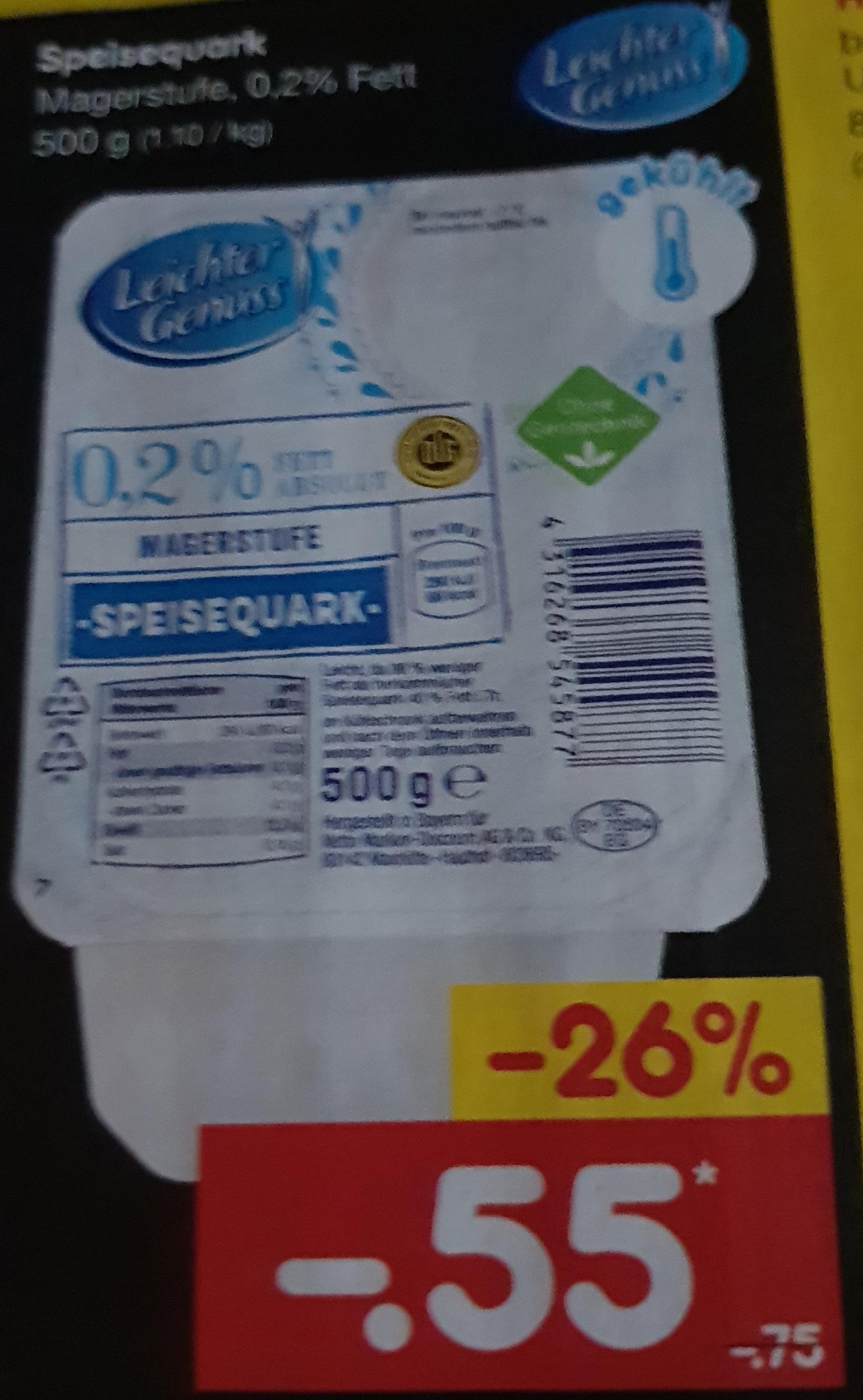 [Netto] Speisequark: 500g Magerstufe, 0,2% Fett [Ab 25.6.20]
