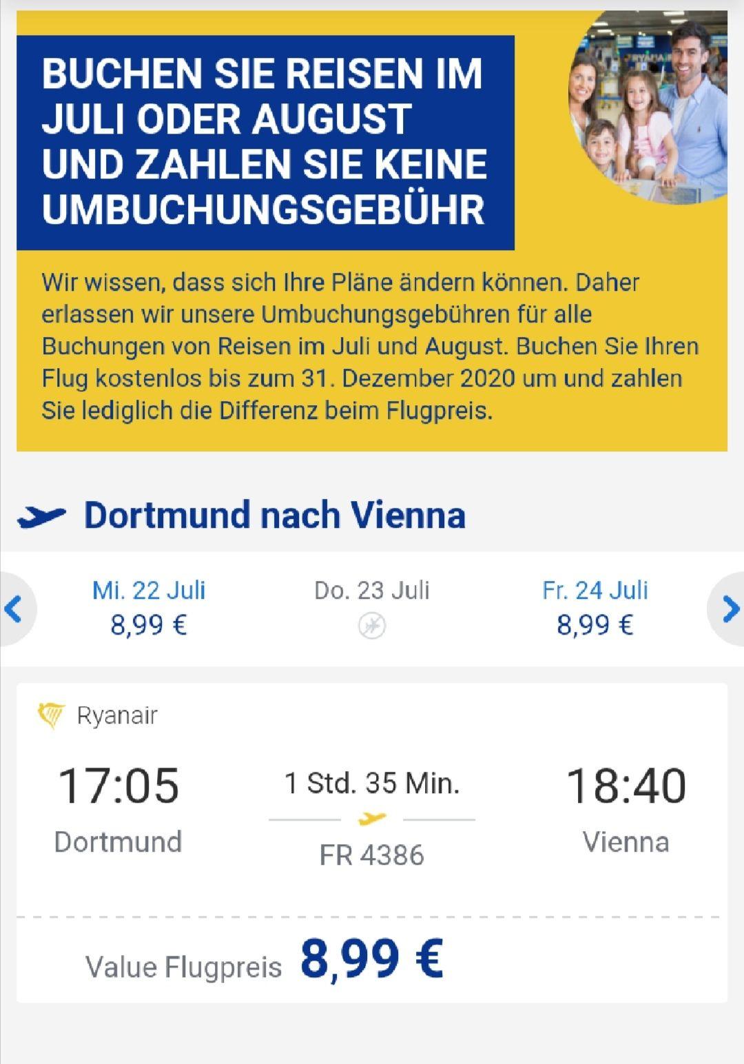Flüge von Dortmund nach Wien und zurück für nur 16,00€ *Viele Termine* Juli-November