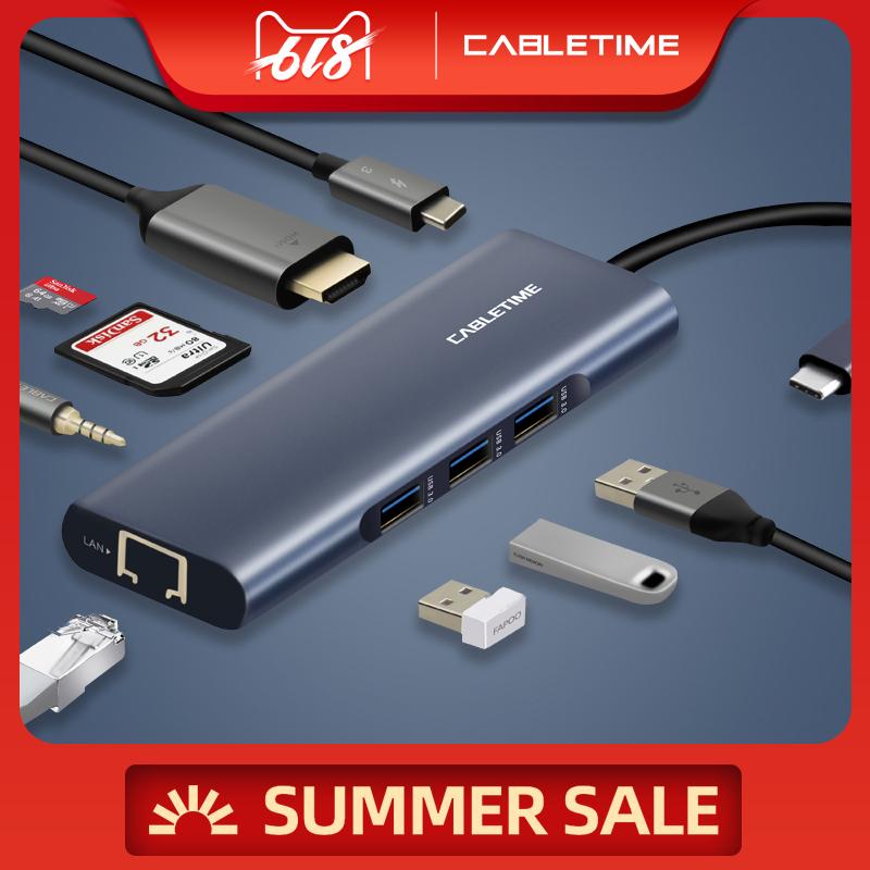 HUB USB Type C 9 in 1 - HDMI 4K, USB 3.0, SD Card