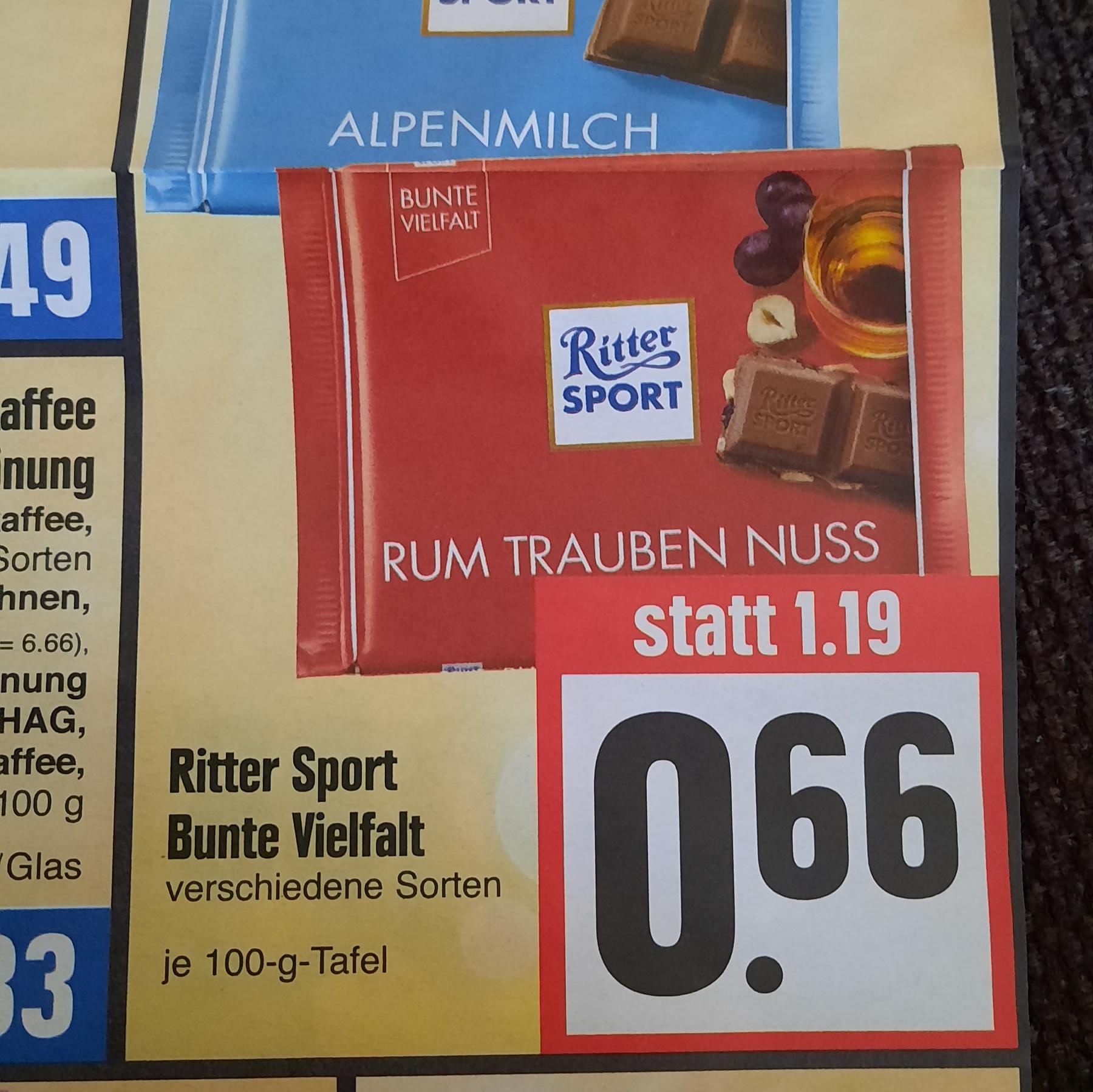 Ritter Sport (Bunte Vielfalt) bei Edeka und Ratio