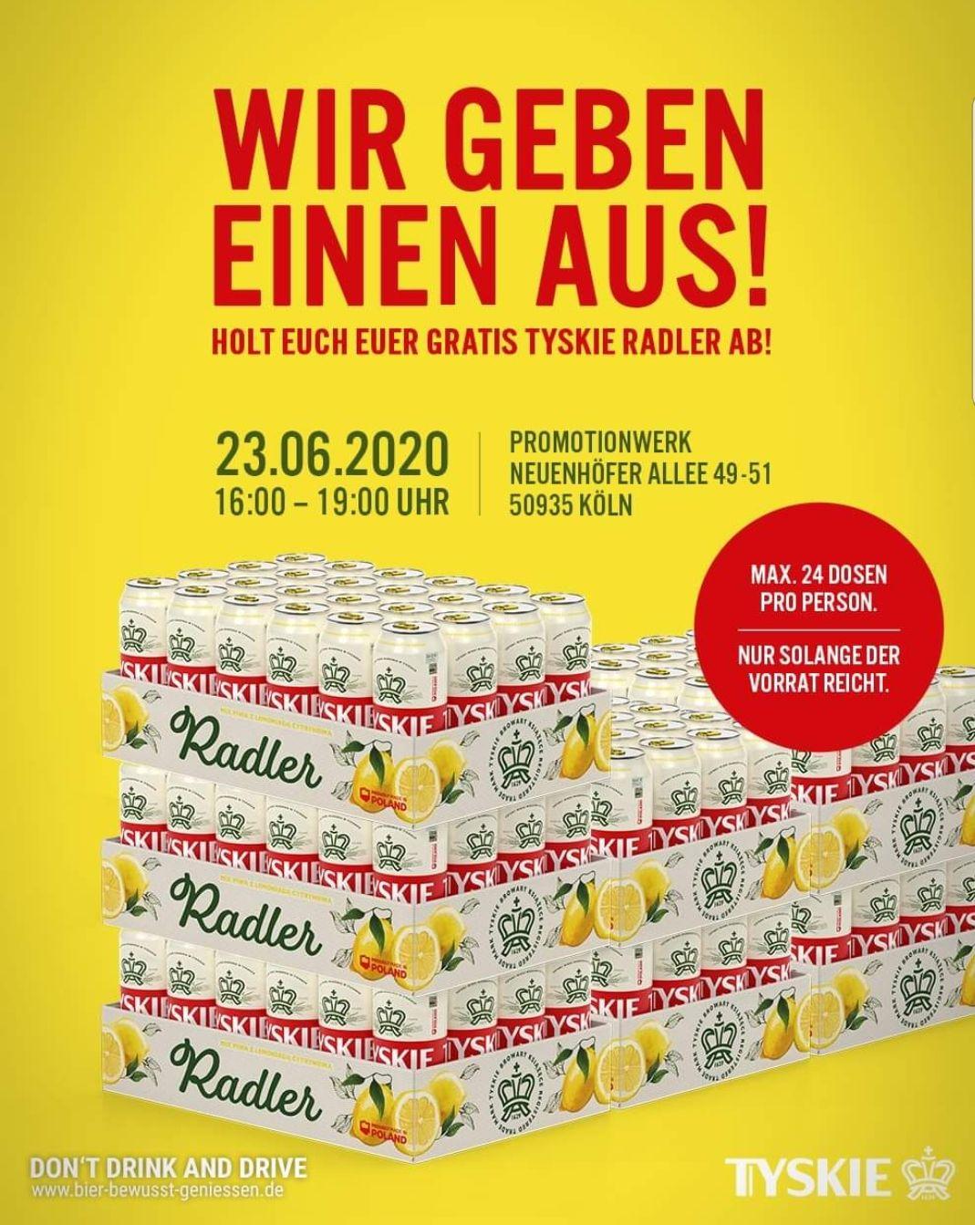 [Tyskie] bis zu 24x Radler p. P. kostenlos / Lokal Köln