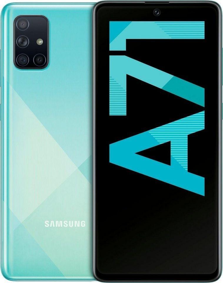 """Samsung Galaxy A71 Silber und Blau (6,7"""" FHD+ AMOLED, 179g, SD730, 6/128GB, Klinke, NFC, 4500mAh, AnTuTu 265k) [Saturn]"""