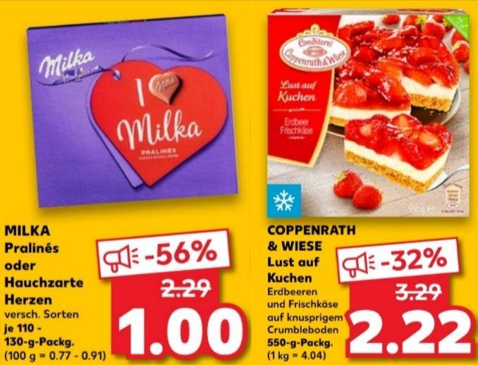[Kaufland Fr+Sa] Milka Pralinés und Hauchzarte Herzen für 1€|Coppenrath & Wiese Lust auf Kuchen für 2,22€