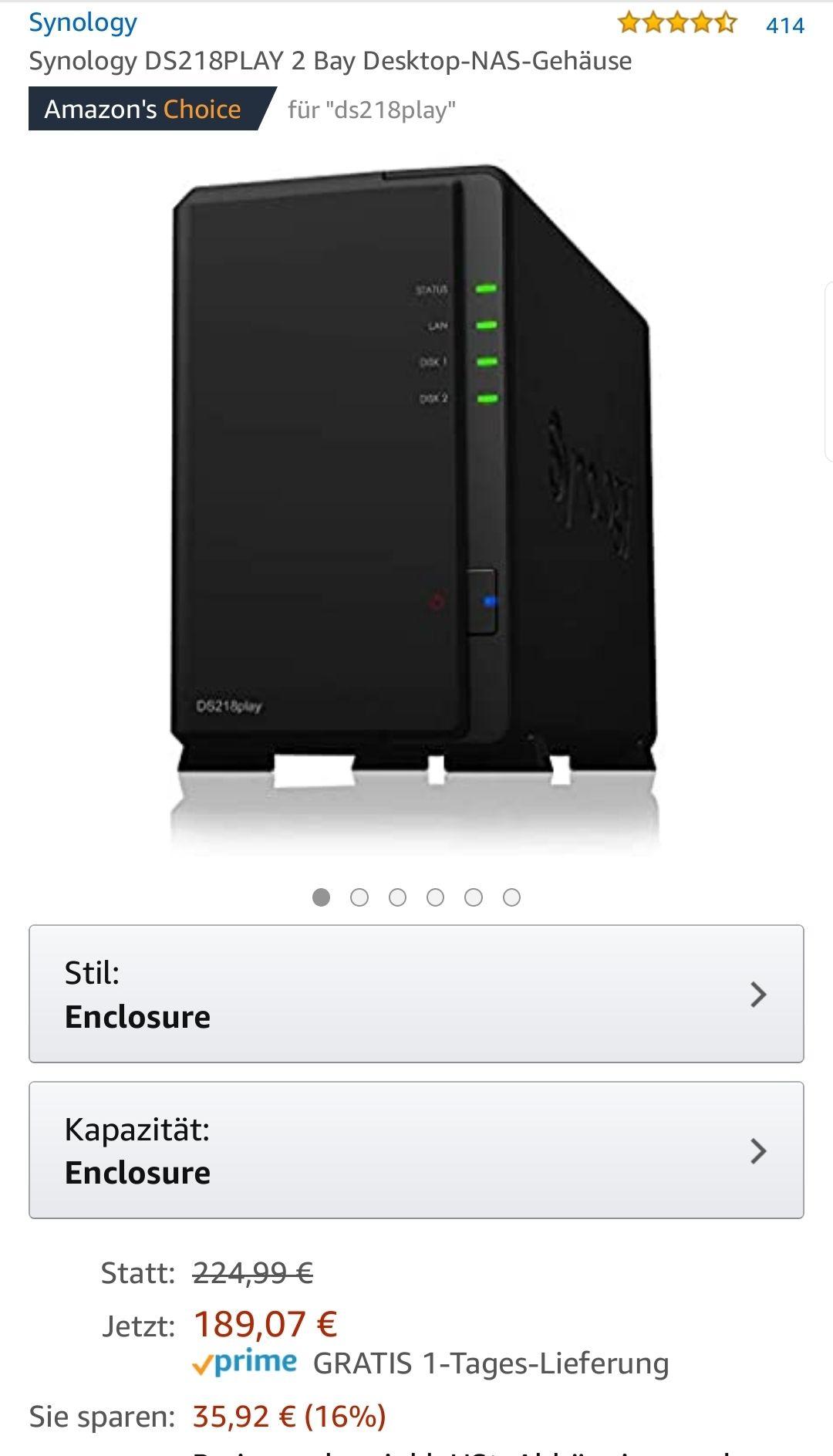Synology DS218PLAY 2 Bay Desktop-NAS-Gehäuse