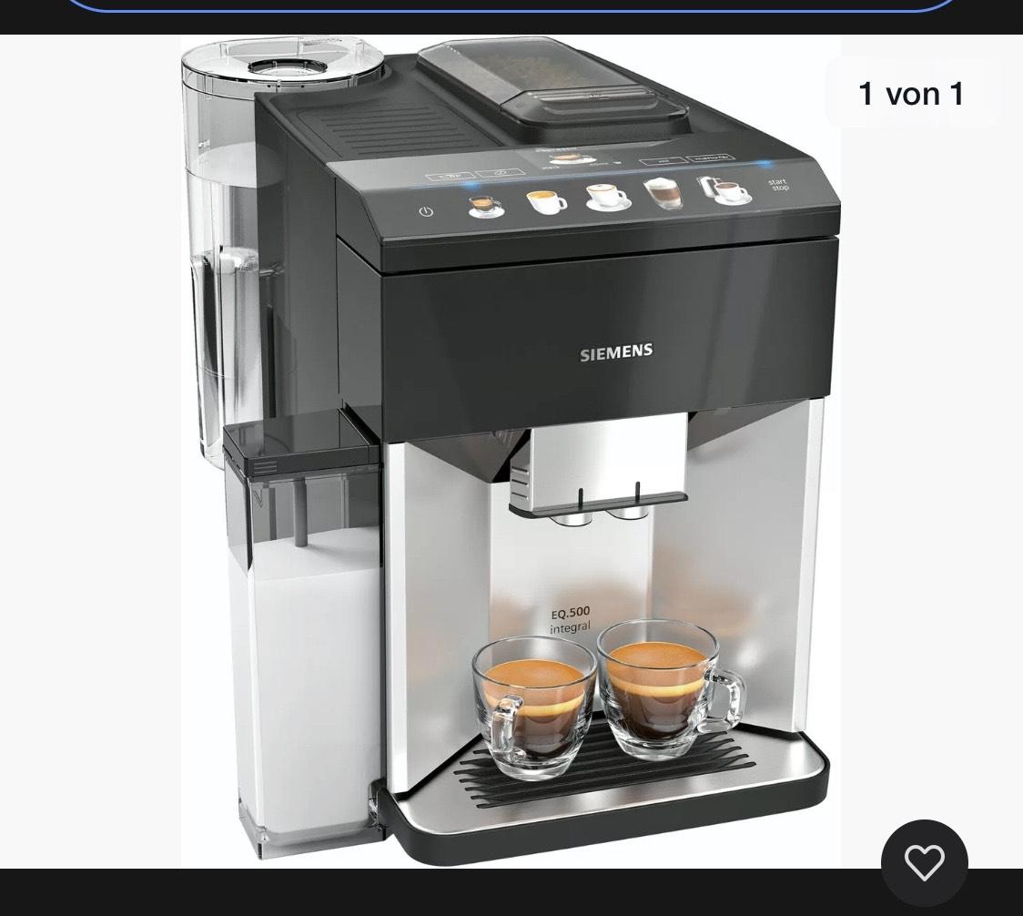 SIEMENS TQ503D01 EQ.500 integral Silber/Schwarz Kaffevollautomat