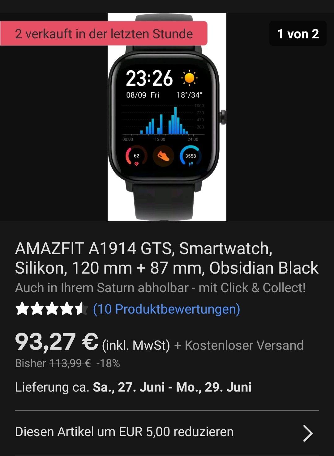 Amazfit GTS Obsidian Black/ Schwarz