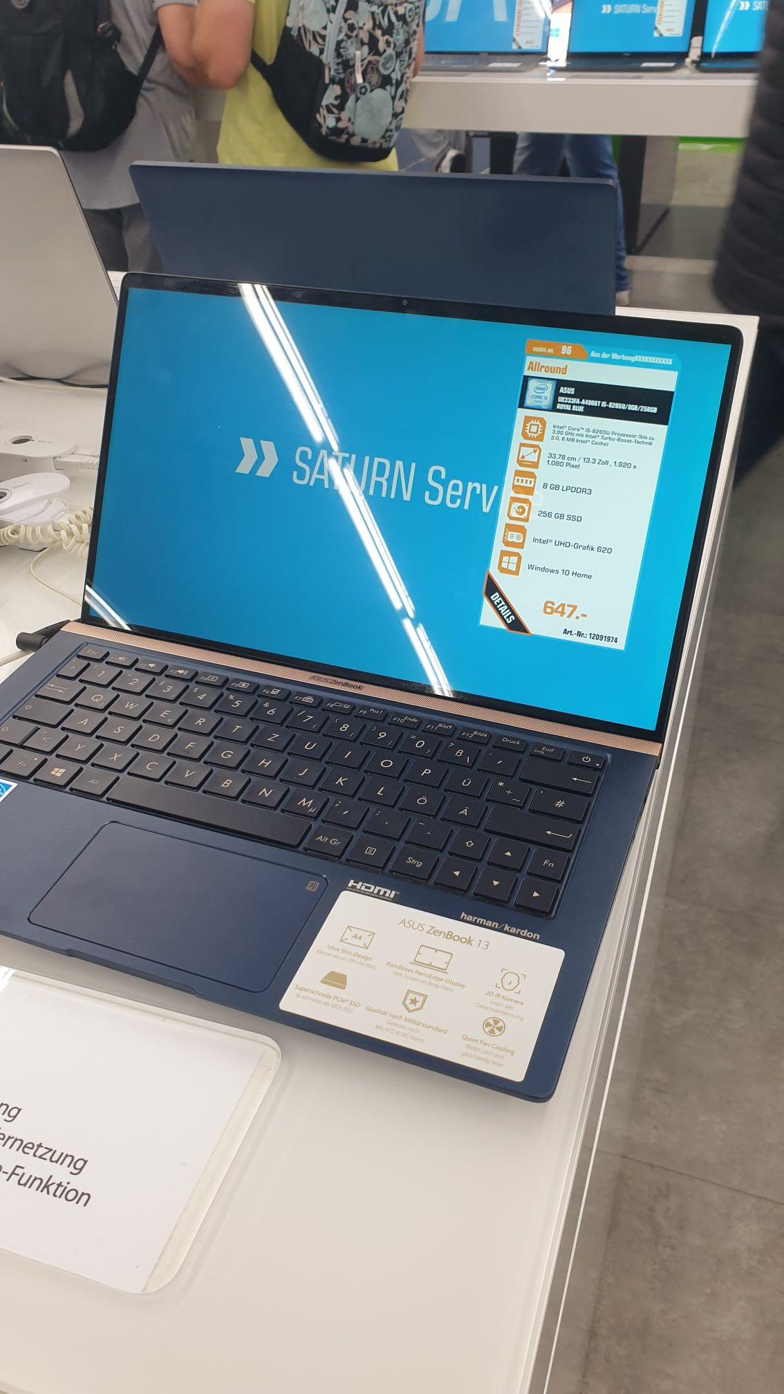 [Lokal Berlin] Saturn Alexanderplatz Asus Zenbook UX333 13 Zoll Intel i5-8265U 8GB Ram