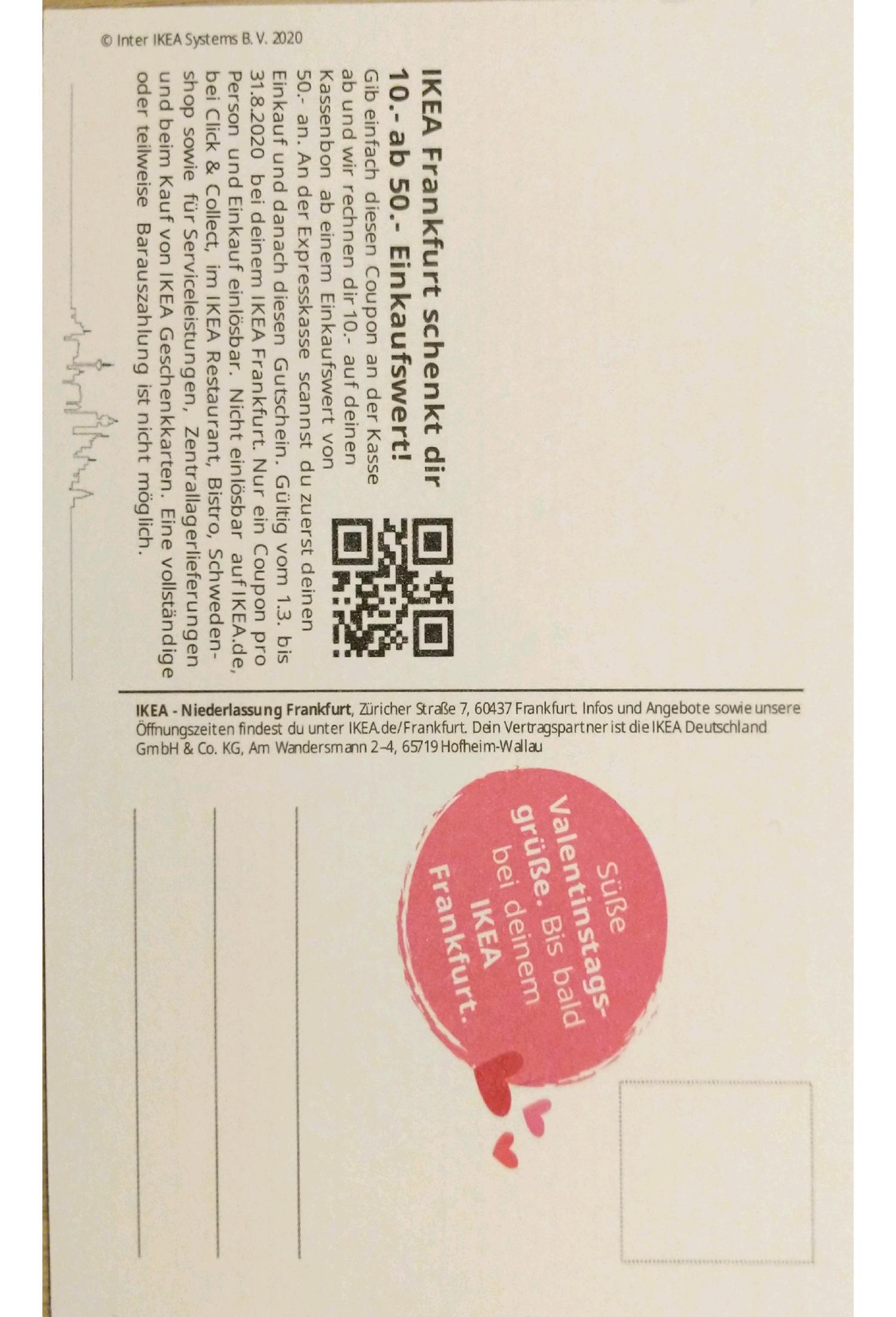 Lokal - [FFM] Ikea 10€ Gutschein ab 50€ MEW bis 31.08.2020