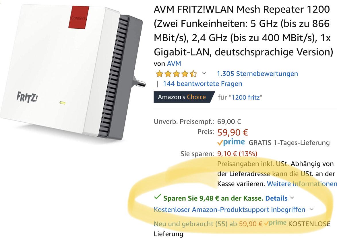 AVM FRITZ!WLAN Mesh Repeater 1200 - Amazon