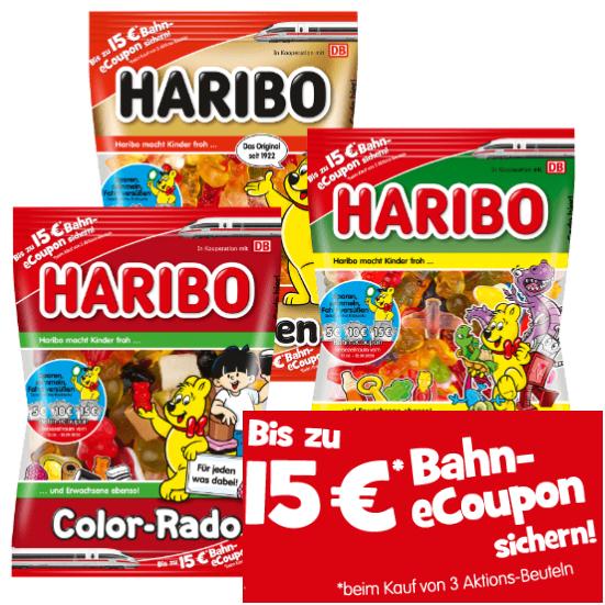 Haribo verschiedene Sorten und zu 100% mit Bahn eCoupon ab 3.7. bei Aldi Nord und ab 10.7. bei Aldi Süd