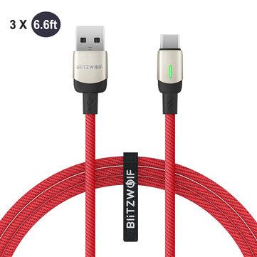 BlitzWolf®BW-TC21 6.6ft 3A USB Type-C Cable LED Indicator Fast Charging 3x