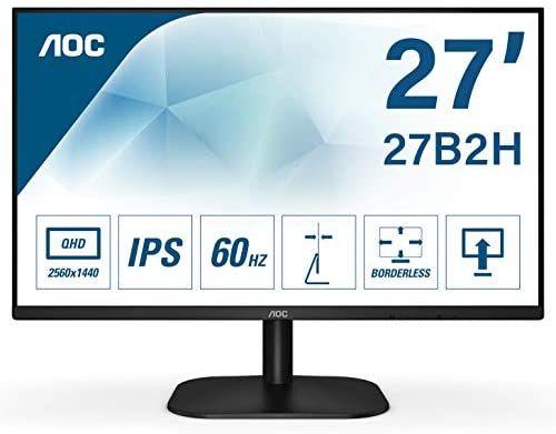 AOC 27B2H 68 cm (27 Zoll) Monitor (VGA, HDMI, 1920 x 1080 Auflösung , 75 Hertz, 5 ms Reaktionszeit) schwarz [Amazon]