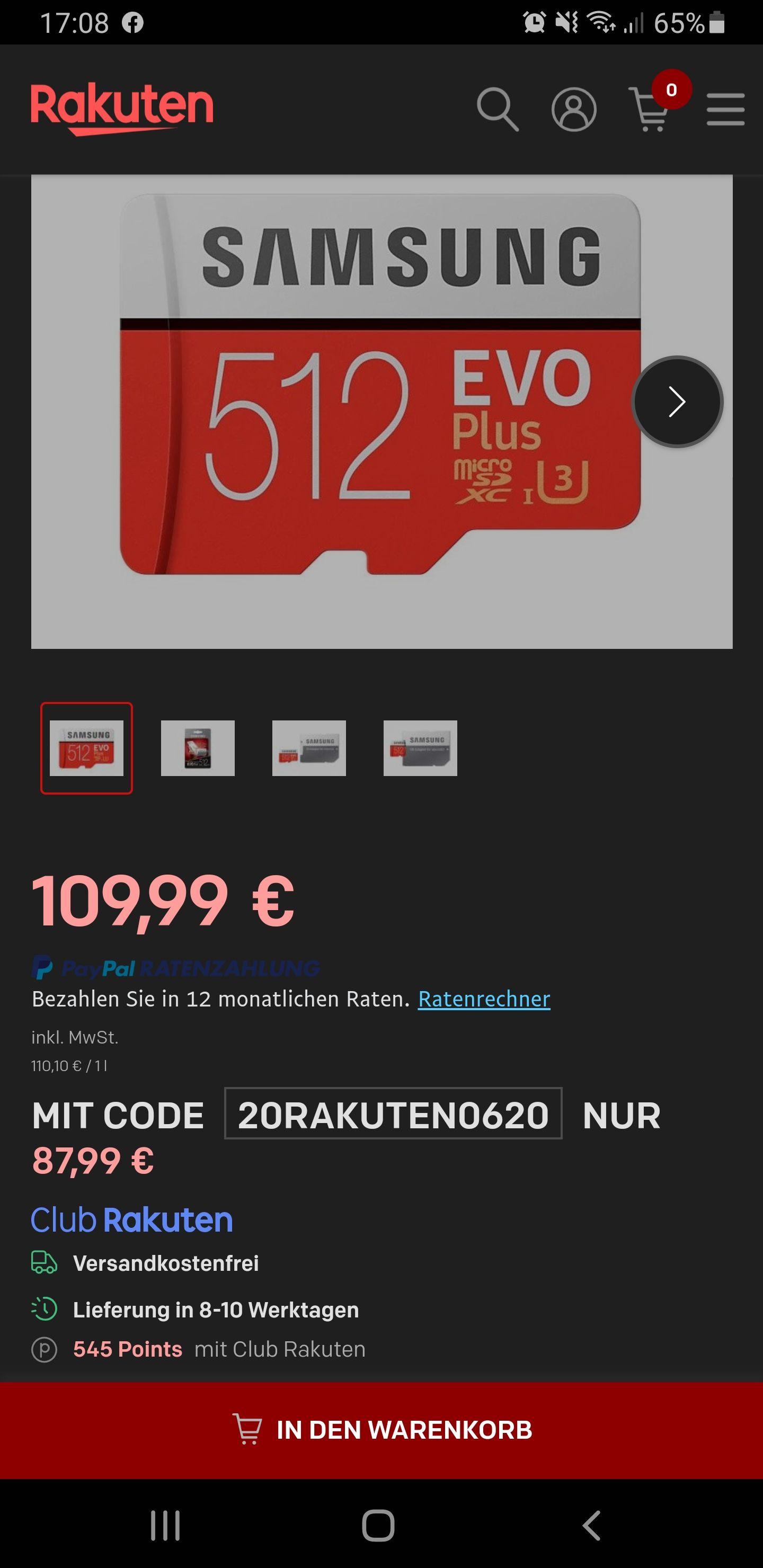 Samsung Memory MB-MC512GA 512 GB Class 10 - U3 EVO Plus Micro SD K...