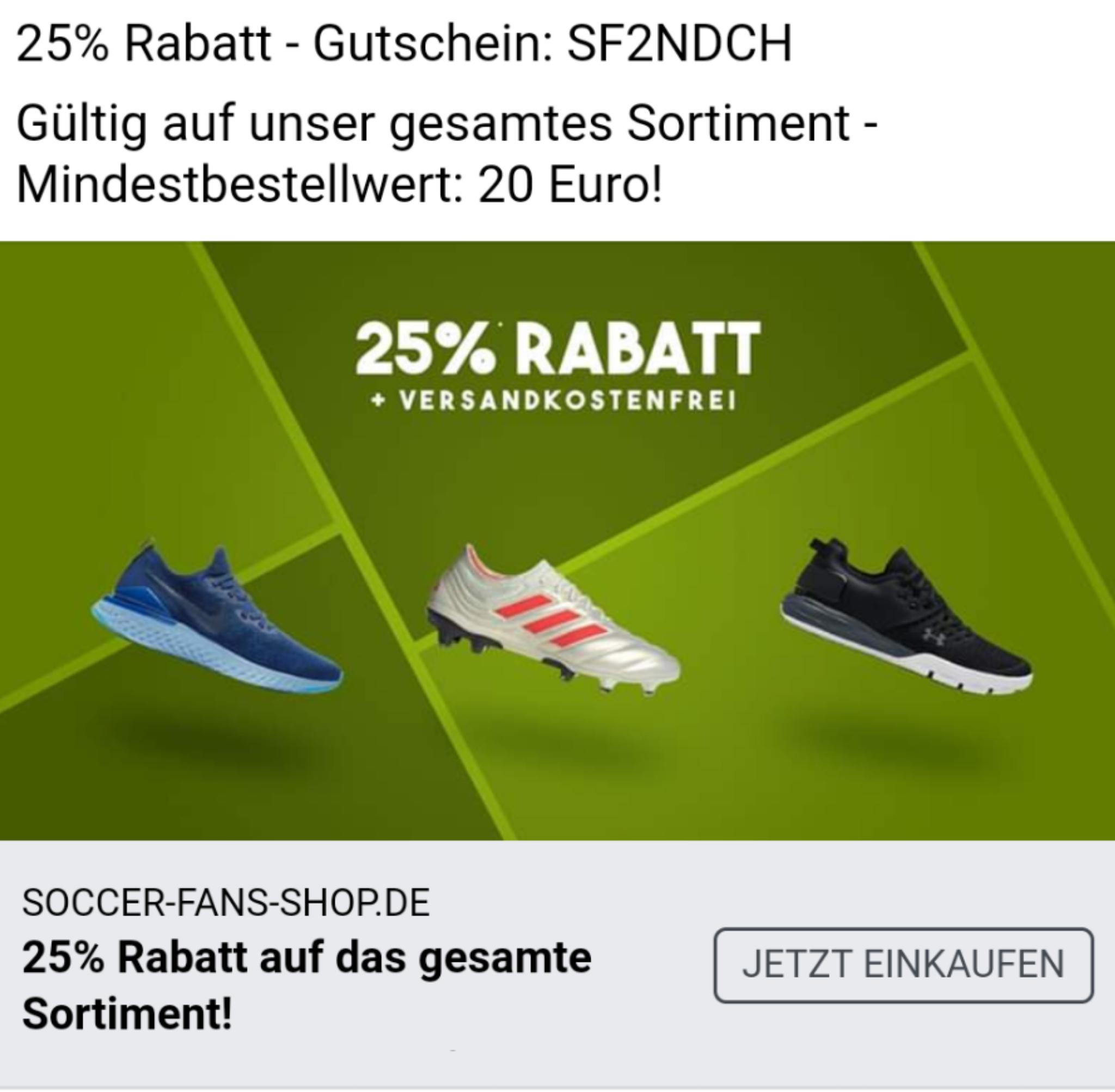 25% auf Alles und versandkostenfrei ab 20€ Einkaufswert