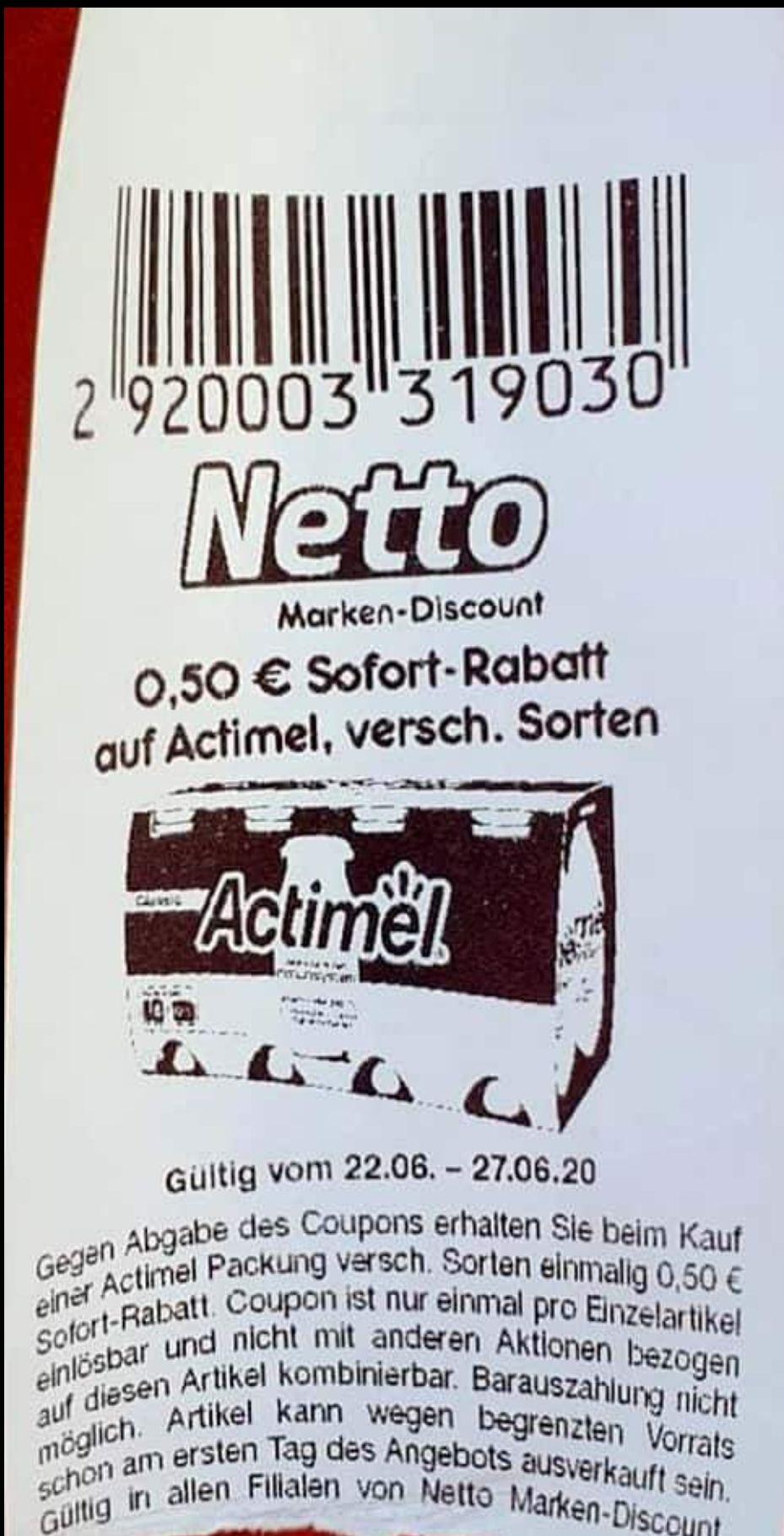 [Netto MD] 0,50€ Sofort-Rabatt auf alle Actimel Produkte