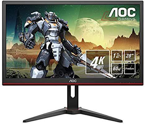 AOC G2868PQU 71,1 cm (28 Zoll) Monitor (VGA, HDMI, USB-Hub, DiplayPort, 1 ms Reaktionszeit, 3840x2160, 60 Hz) schwarz [Amazon]