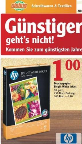 [City Globus Koblenz] Druckerpapier HP Bright White Inkjet - 250 Blatt - 90g/m² - nur 1€!