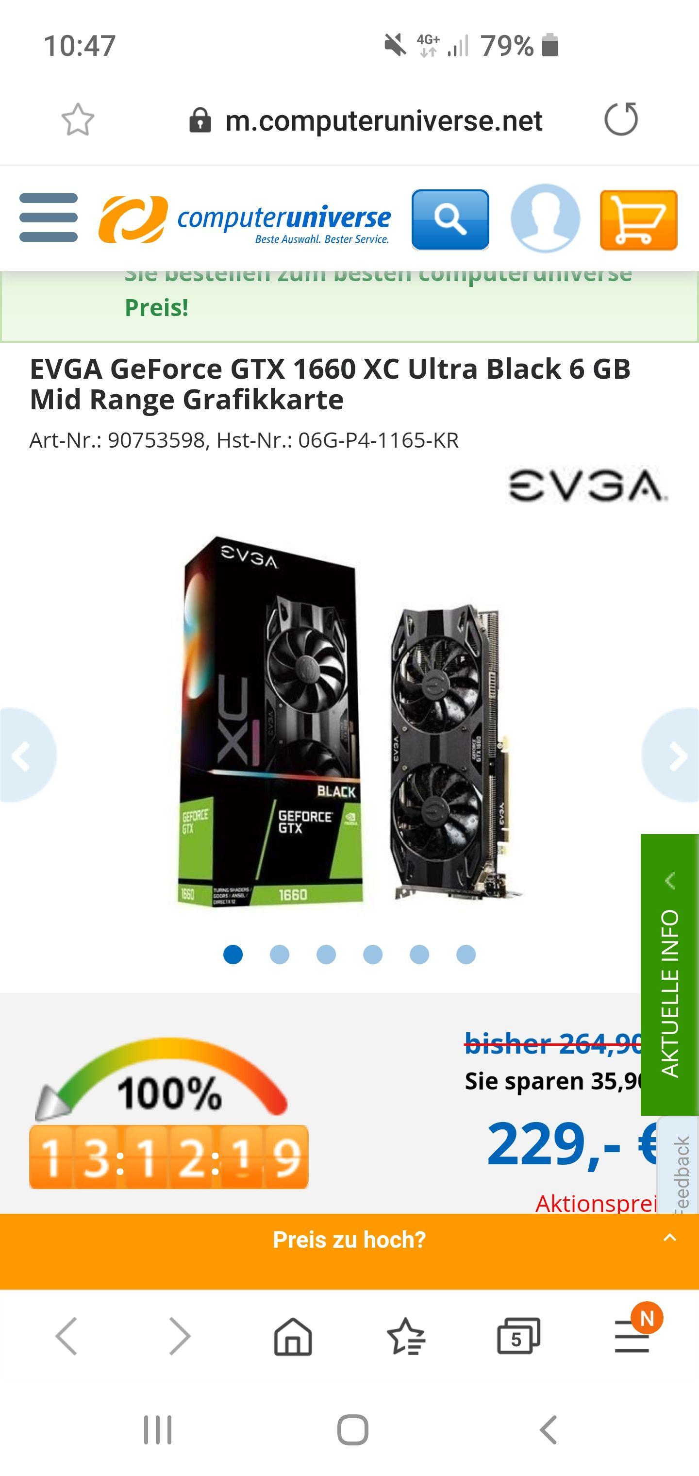 computeruniverse EVGA GTX 1660 XC Ultra Black 6GB