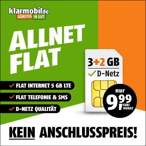 [Telekom-Netz] 5GB LTE Klarmobil Tarif (25 Mbit/s) für 9,99€ / Monat & 0€ AG inkl. VoLTE, WLAN Call, Allnet- & SMS-Flat (24 Monate)