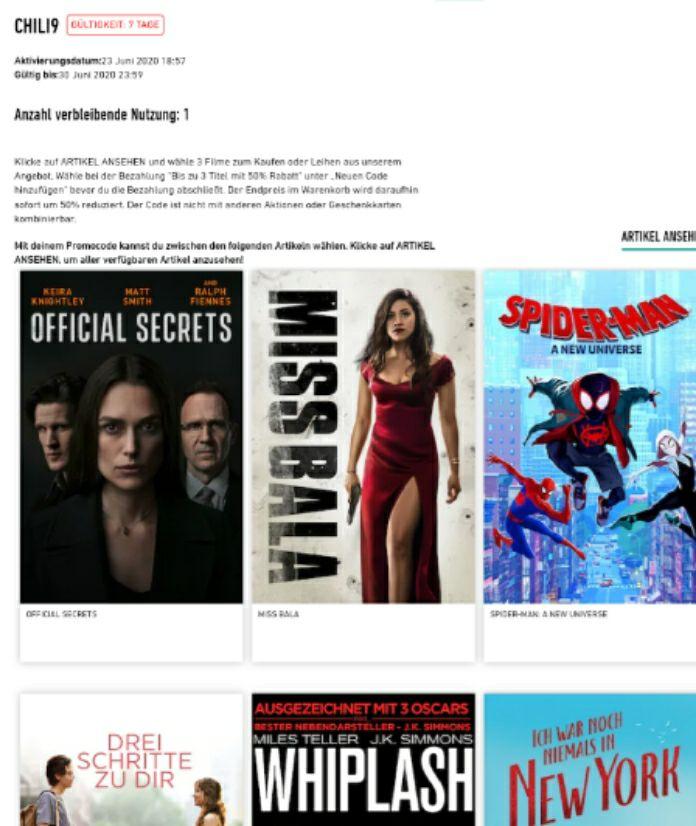 Filme bei Chili TV im Angebot Bis zu 3 Titel mit 50% Rabatt zb SPIDER-MAN: A NEW Universe für 5,99 in HD