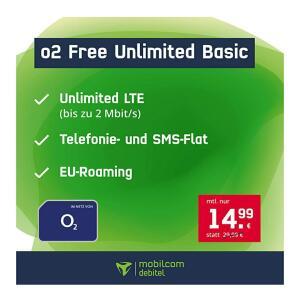 Mobilcom-Debitel o2 Free Unlimited Basic (unlimitiertes Datenvolumen, 2 Mbit/s) für dauerhaft 14,99€ / Monat (24 Monatsvertrag)