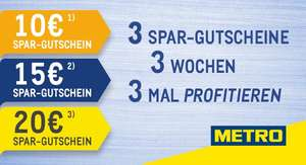 [Metro] Newsletter checken 10/15/20€ GS mit 50/75/100MBW (ggf. Personalisiert)