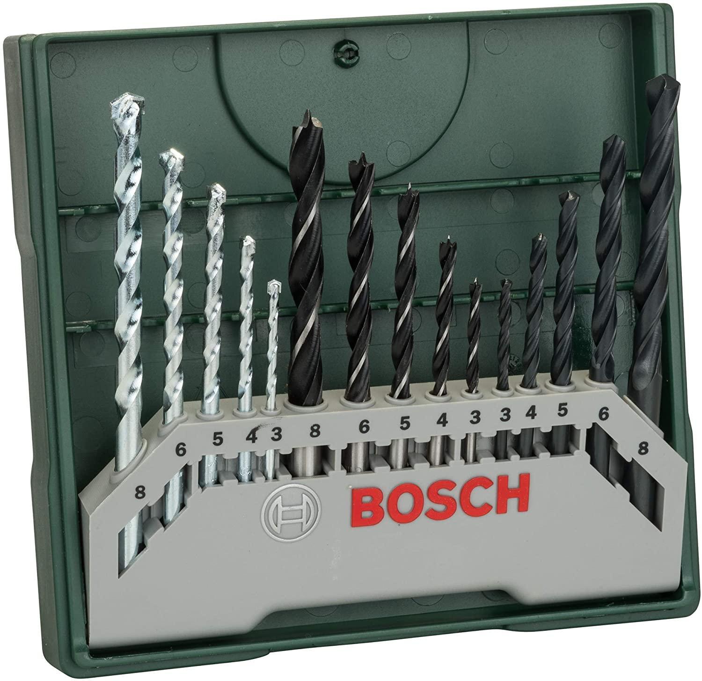 Bosch 15tlg. Mini-X-Line Spiralbohrer Mixed-Set (Holz, Stein und Metall, Zubehör Bohrmaschine) [Amazon Prime]