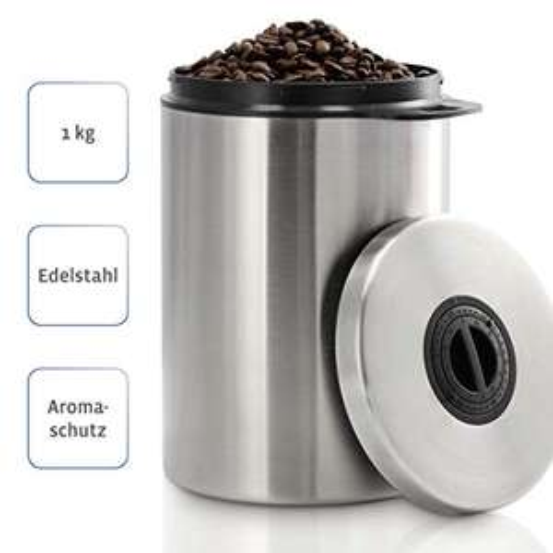 Edelstahl Kaffeedose für 1kg Kaffeebohnen (Datumsanzeige)
