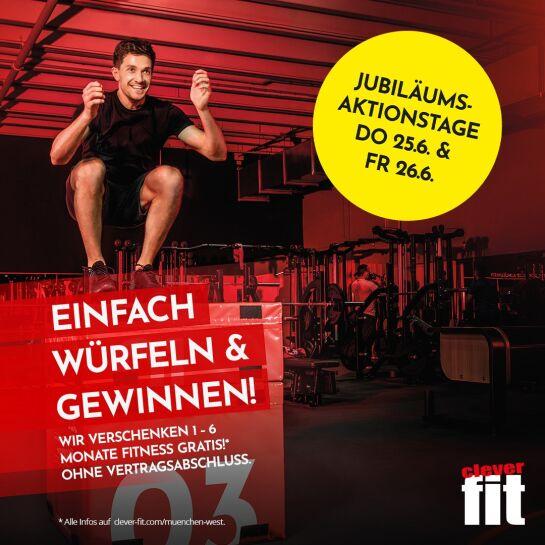 München: 1 bis zu 6 Monate Gratistraining im Fitnesstudio clever fit München-West (Sendling Nähe Heimeranplatz)