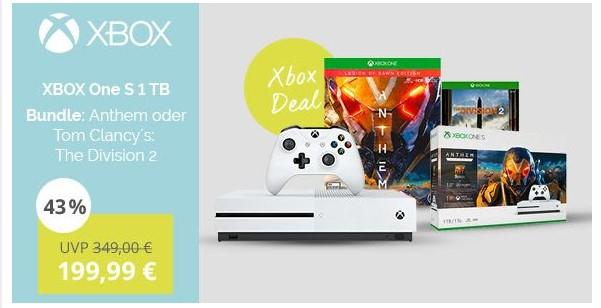 XBox One S 1TB (im Bundle mit Anthem oder Tom Clancy´s: The Division 2) (SBSCOM Mitarbeiterportal)