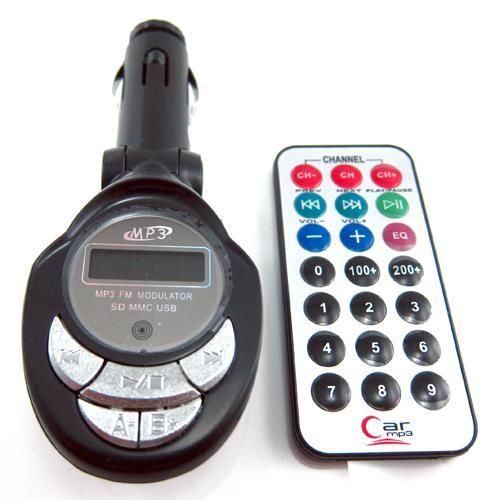 KFZ FM Transmitter / MP3-Player + Fernbedienung und SD MMC Slot & USB Anschluss