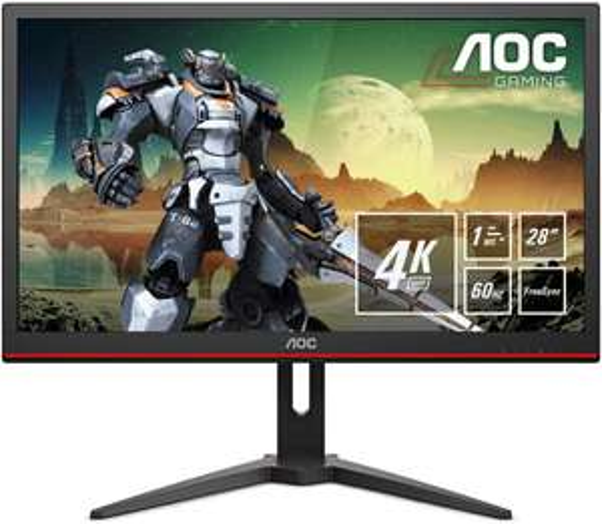 AOC G2868PQU 71,1 cm (28 Zoll) Monitor (VGA, TN, HDMI, USB-Hub, DiplayPort, 1 ms Reaktionszeit, 3840x2160, 60 Hz) schwarz [Amazon]