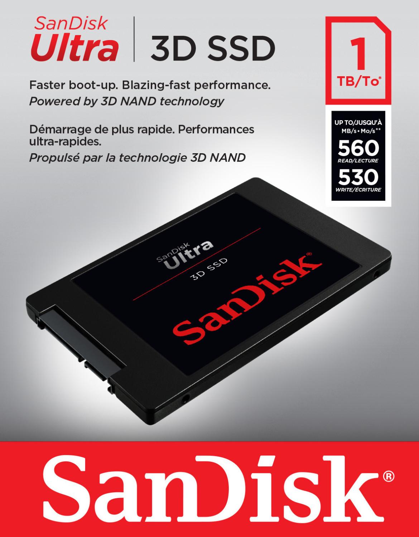 """SanDisk Ultra 3D 1TB SSD (2.5"""", 3D-NAND TLC, 560 MB/s Lesen, 530MB/s Schreiben)"""
