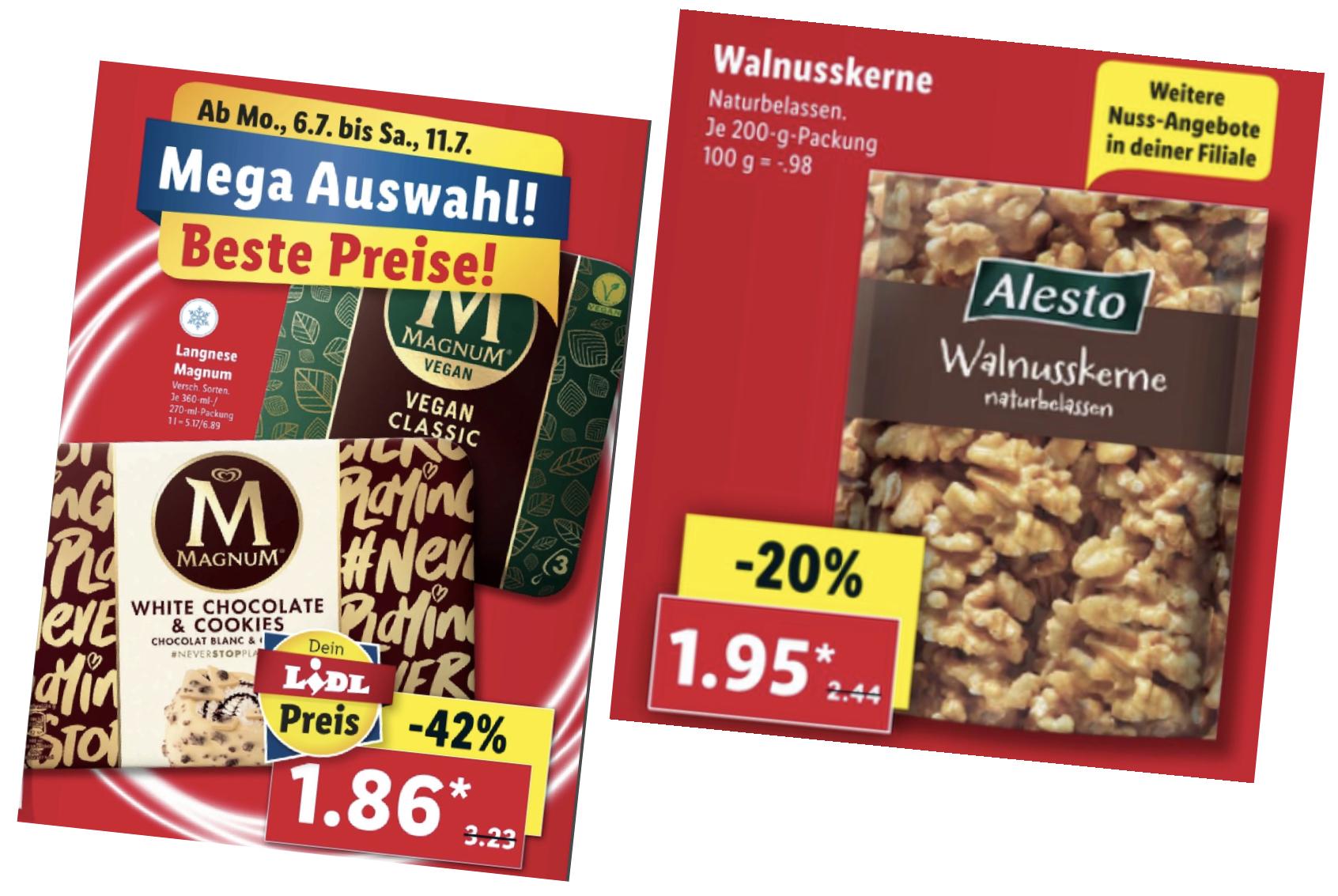 Walnusskerne für 1,95€ statt 2,44€ / TABASCO Red Pepper Sauce 60ml Flasche für 1,86€ / Magnum u.a. VEGAN Classic für 1,86€ statt 3,29€