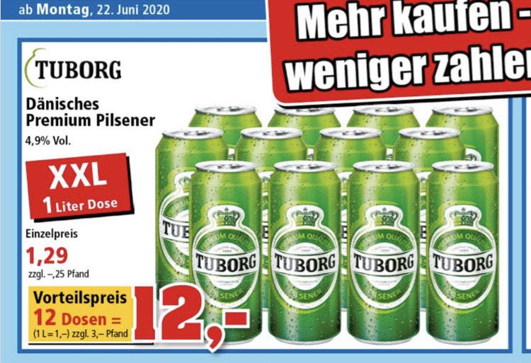 12 x1 ltr. Tuborg Dänisches Bier bei Thomas Philipps