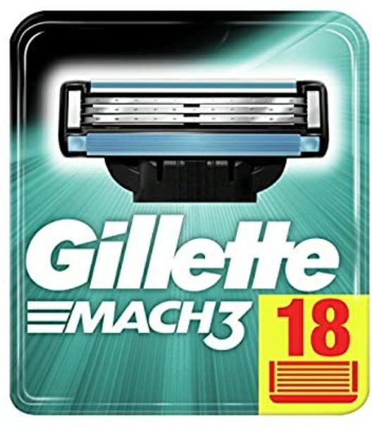 Gillette Mach 3 Rasierklingen, 18 Stück, Stückpreis von 1,05€ ( als Primekunde oder bei Bestellung von 36 Klingen)