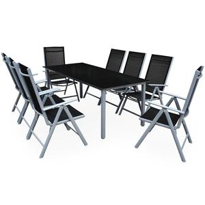 Alu Sitzgruppe 9-tlg Essgruppe für den Garten 8 Stühle + Tisch