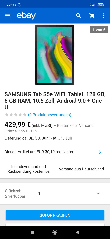 SAMSUNG Tab S5e WIFI, Tablet, 128 GB, 6 GB RAM, 10.5 Zoll, Android 9.0 + One UI