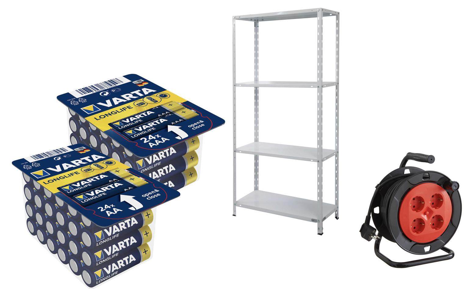 Kaufland Sammedeal: z.B. Metallregal- 75x150x30 / 160kg o. VARTA Longlife Batterien Big Box (AA oder AAA) [Kaufland ab 02.07]
