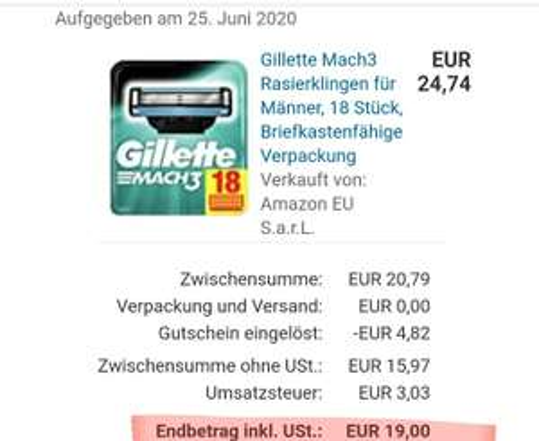 Gillette Mach3 18 Klingen nur 19€ (1,05€ pro Stück)