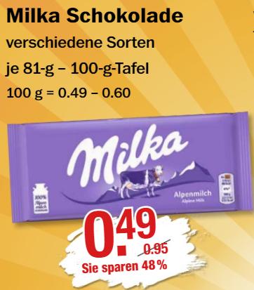 Milka Schokolade für 0,49 €, Katjes Fruchtgummi für 0,44 € @ V-Märkte München