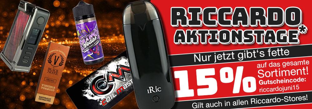 15% Rabatt auf Alles im Riccardo E-Zigaretten-Shop