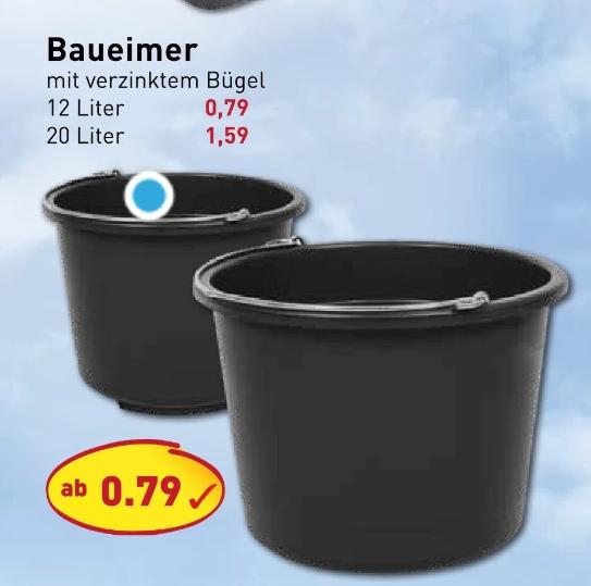 [Picks Raus Sonderpostenmärkte ab 29.06] Baueimer 12 Liter Volumen mit verzinkten Bügel für 0,79€
