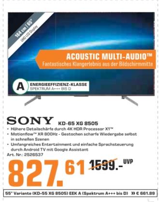 [Saturn SONY KD-65XG8505 LED TV (Flat, 65 Zoll/164 cm, UHD 4K, SMART TV, Android TV) für 827,61€ bei Abholung