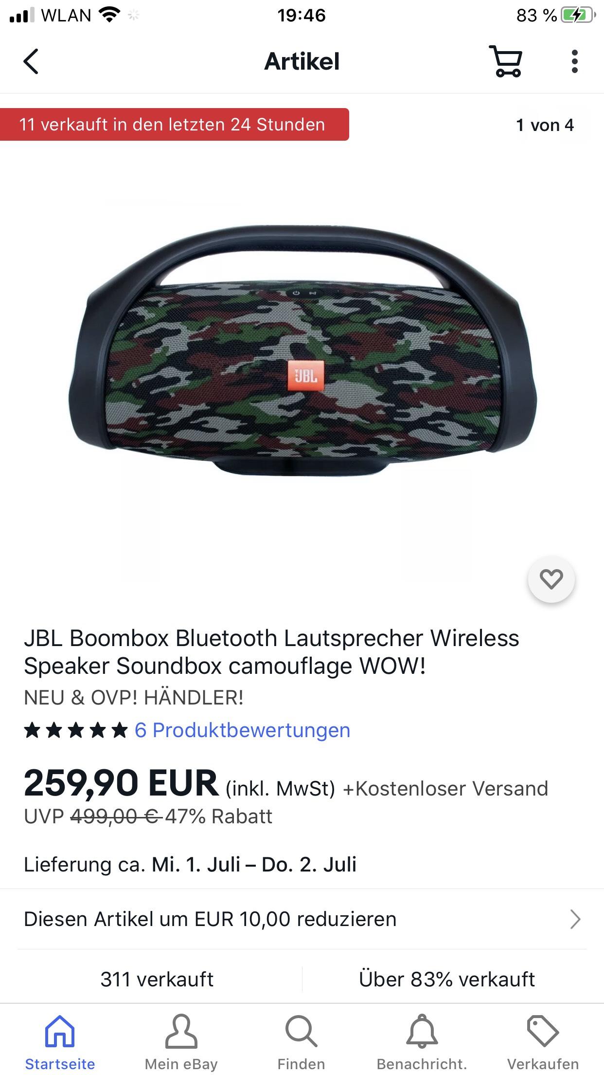 JBL Boombox Bluetooth Lautsprecher Wireless Speaker Soundbox camouflage WOW! NEU & OVP! HÄNDLER!