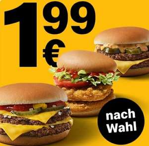Doppelburger nach Wahl z.B McDouble Chili Cheese, Doppel Cheeseburger, Doppel Chickenburger, für 1,99€ [McDonald's App]