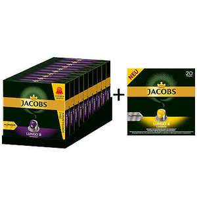 JACOBS Kapseln 220 Lungo 8 Intenso + 20 Lungo 4 Leggero Nespresso
